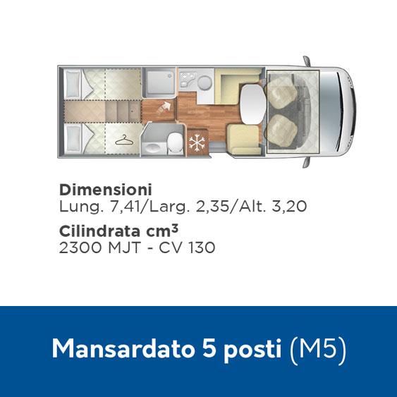 M5 Noleggio Camper 5 posti mansardato