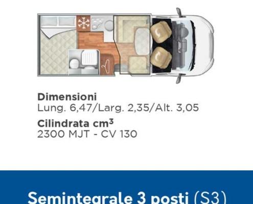 S3 Noleggio Camper 3 posti semintegrale