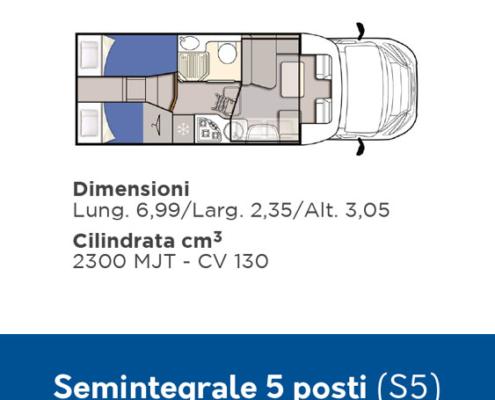 S5 Noleggio Camper 5 posti semintegrale